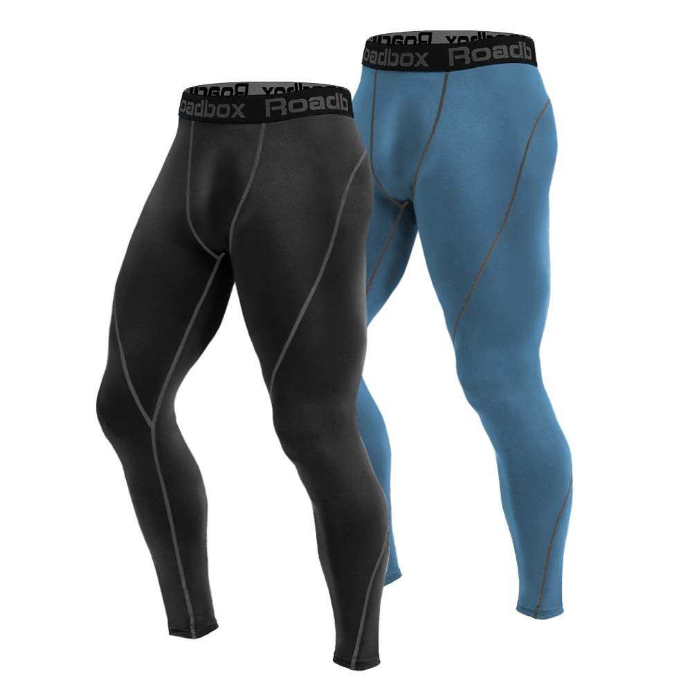 2 Pack Black,Senior blueee Large Roadbox 2 Pack Men's Compression Pants Workout Warm Dry Cool Sports Leggings Tights Baselayer for Running Yoga