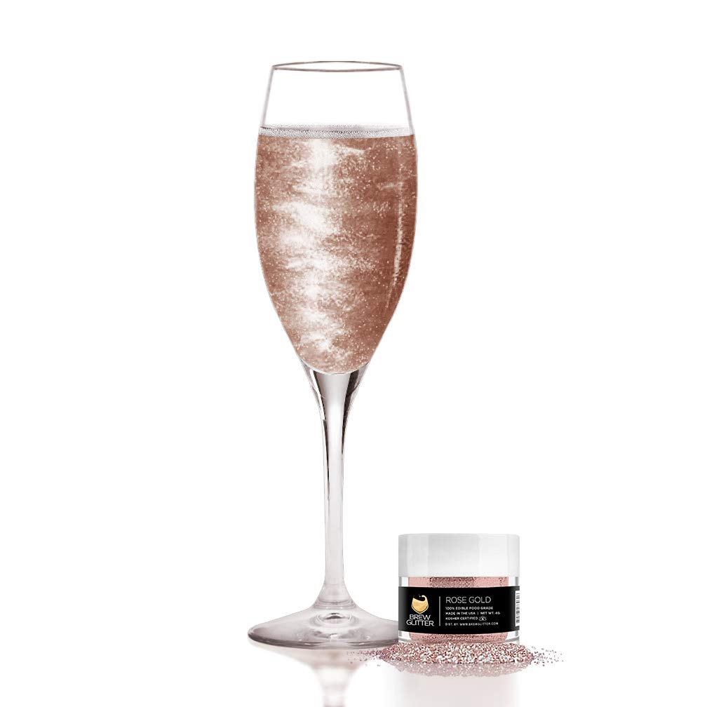 Rose Gold BREW GLITTER Edible Glitter For Wine, Cocktails, Champagne, Drinks & Beverages | 4 Grams | KOSHER Certified | 100% Edible & Food Grade | Kosher Certified | Vegan, Gluten, Nut Free