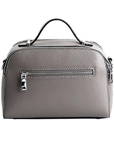Menschwear Damen Echtes Leder Handtasche Elegant Taschen Rot Grau Jeljf5