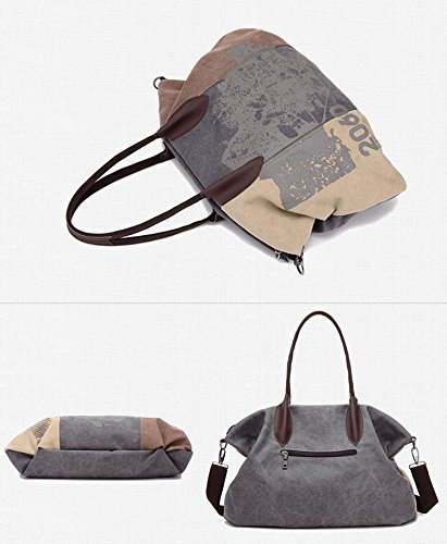 Casual Bag Canvas Travel 44cmx32cm Brown Oversize Hobo Shopping Shoulder Bag Women's Tote wxZFXqx