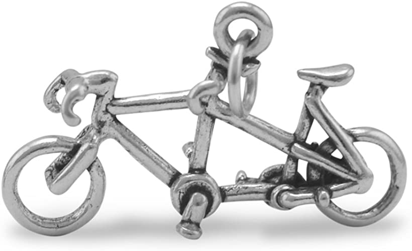 925 Sterling Silver Antiqued Bicycle Charm