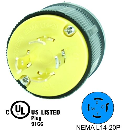 Journeyman-Pro 2411 20 Amp, 125/250 Volt, NEMA L14-20P, 3P, 4W, Locking Male Plug Connector, Black Industrial Grade, Grounding 5000 Watts Generator Rating (L14-20P MALE PLUG) by Journeyman-Pro