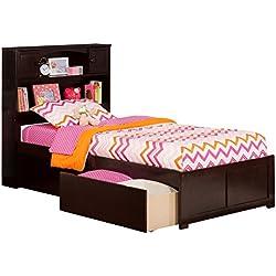 Atlantic Furniture Atlantic Newport Espresso Twin XL Flat-panel Footboard 2-drawer Bed