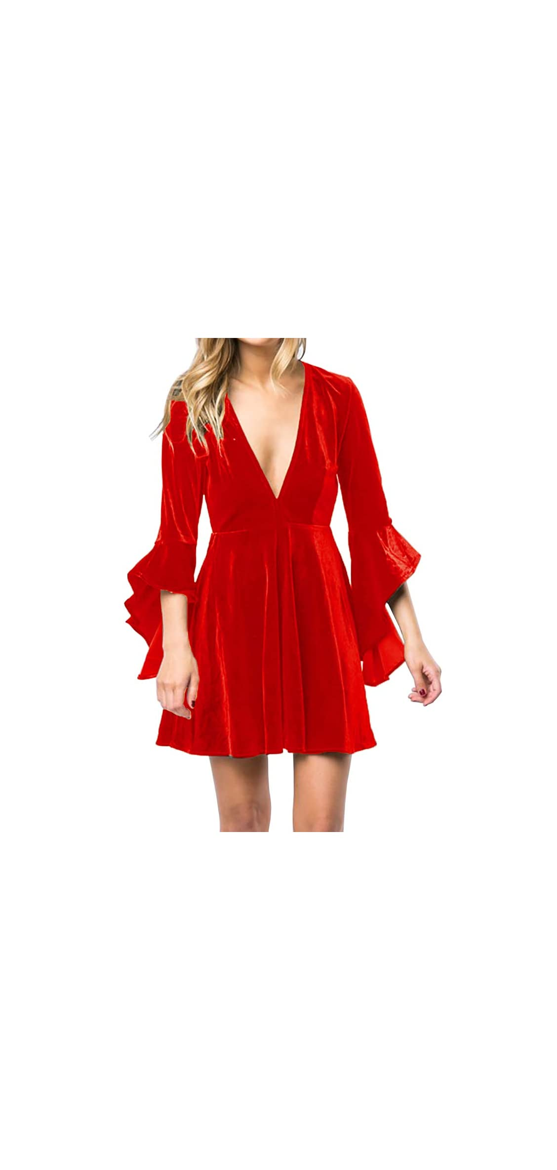 Womens Velvet Skater Dress Deep V Neck Bell Sleeve Sexy