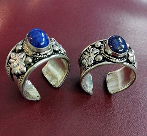 FidgetFidget Old Tibet Silver Carved Ring Adjustable Religion Lapis Lazuli Stone one Pieces