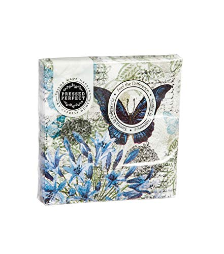 """Cypress Home Blue Floral Study Embossed Paper Cocktail Napkin, 20 Count - 5""""L x 5""""H"""