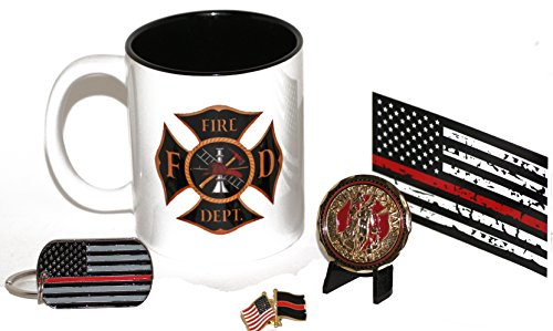 d Fireman's Shield Coffee Cup with Saint Florian Challenge Coin Gift Pack (Firefighter Cups)