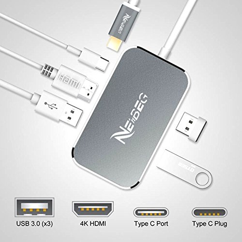NENBEG Aluminum USB C Dongle USB C Hub Thunderbolt 3 Adapter To 4K HDMI with USB C Charging Port,USB 3.0 for MacBook Pro 2016/2017 and Compatible.Plus 6 Foot Flexible HDMI Cable Included by NenBeg