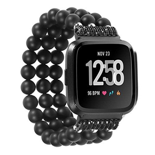 YJYdada Luxury Crystal Three Beads Round Beads Watch Band Wrist Strap for Fitbit Versa (Black)