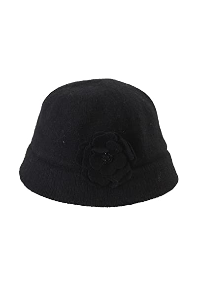 b52635ab07e August Hat Black Flower Fantasy Cloche OS at Amazon Women s Clothing ...