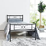 GIME Bed Frame Twin Size, Yanni LESILE Easy Set-up Premium Metal Platform Mattress Foundation/Box Spring Replacement with Headboard and Footboard, Under-Bed Storage, Enhanced Sturdy Slats(Black)