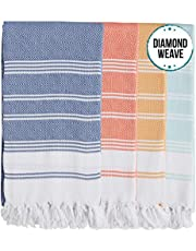 Set of 4 - New Season Brightest Diamond Weave Turkish Cotton Bath Beach Hammam Towel Peshtemal Blanket (Coral-Teal-Lemon-Pistachio)