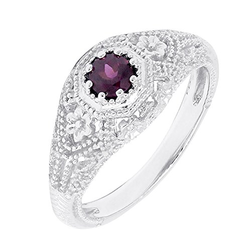 Filigree Sterling Silver Round Cut Natural Rhodolite Garnet Statement Ring (0.30 CT.T.W) by ByLove Jewelry