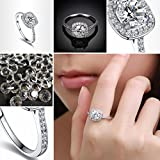 Clearance Rings,ZYooh Women Hearts and Arrows Zircon Rings Wedding Engagement Diamond Rings Jewelry Gift (Silver, 5)
