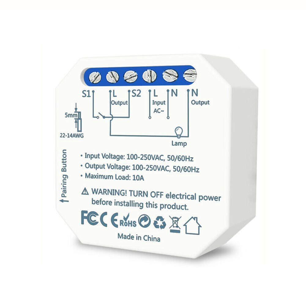 Smart Light Switch, in-Wall WiFi Switch Module,10A Relay Breaker Module DIY Automation Smart Home Works with Alexa and Google Assistant, No Hub Required, Needs Neutral Wire