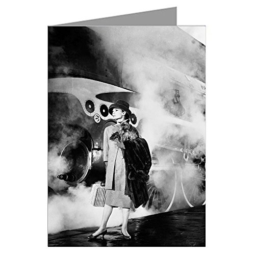 Single Greeting Card of Audrey Hepburn Near Train, From the Movie Funny Face