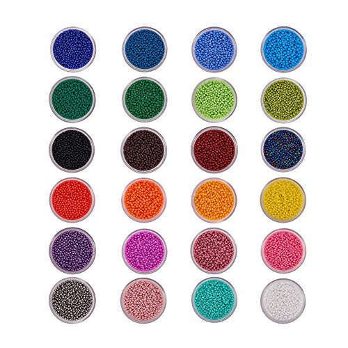 - BENECREAT 24 Boxes of About 24000 Pcs 11/0 Multicolor Beading Glass Seed Beads 24 Colors Round Pony Bead Mini Spacer Beads Diameter 2mm with Container Box for Jewelry Making