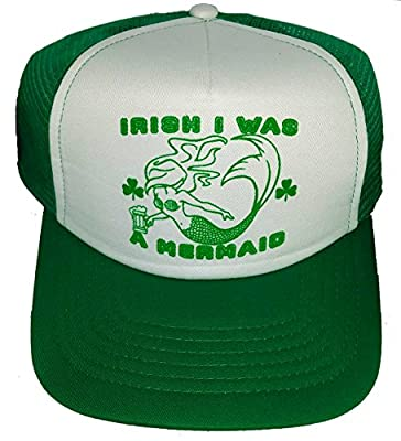 ThatsRad Irish I Was A Mermaid Mesh Trucker Hat Cap Snapback ST. Patricks Day