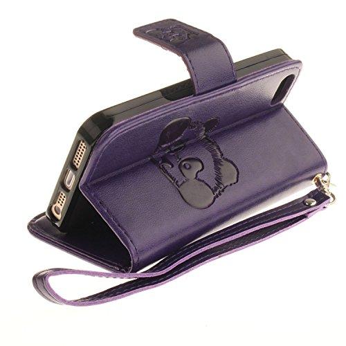 Für Apple iPhone 5 5G 5S / iPhone SE (4 Zoll) Tasche ZeWoo® Ledertasche Kunstleder Brieftasche Hülle PU Leder Schutzhülle Case Cover - TX027 / Panda (lila)