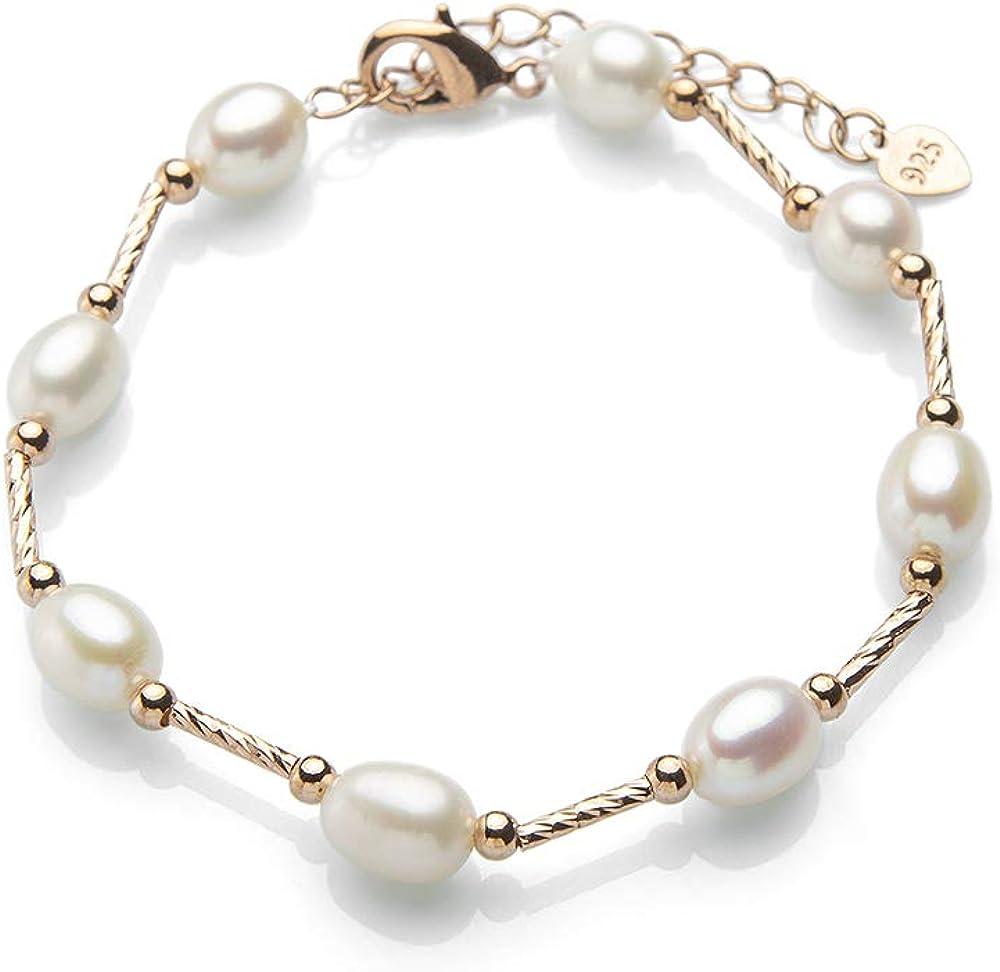PerlaStyle Pulsera con Perlas auténticas,Perlas de Agua Dulce Naturales,cultivadas Grado AAA Cada ocasión