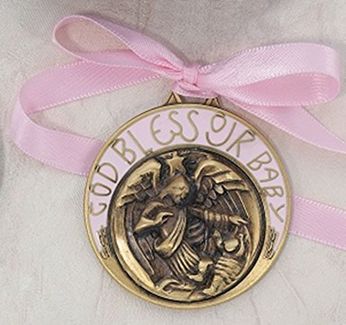 Bronze Toned Pink Crib Medal Baptism Gifts for Baby Girls, 2 inch by Baptism Gifts