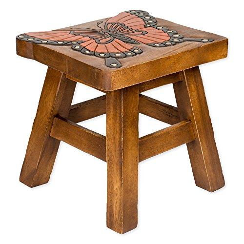 (Monarch Butterfly Hand Carved Acacia Hardwood Decorative Short Stool)