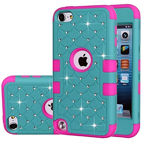 iPod Touch 5 Case,iPod Touch 6 Case,Auker Heavy Duty Shockproof Bling Mermaids Scales Dual Layer [Soft Silicon+Hard PC Shell] Hybrid Protective Case Cover for iPod Touch 5th/6th Generation (Teal-R) (5g Touch No Camera Case Ipod)