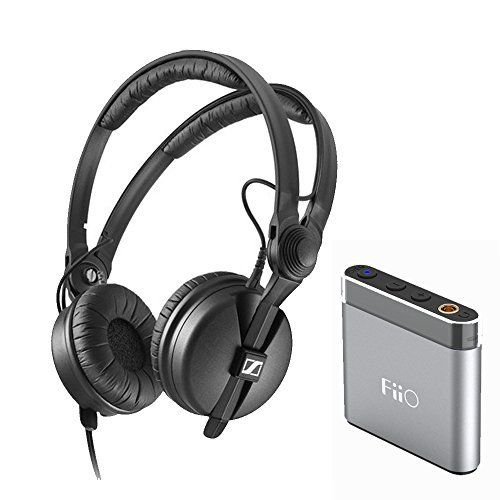 Sennheiser HD 25 Monitor Headphones + FiiO A1 Portable Headphone Amp (Silver)