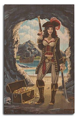 (Lantern Press Pirate Pinup Girl (10x15 Wood Wall Sign, Wall Decor Ready to Hang))