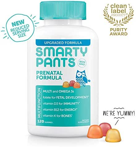 SmartyPants Prenatal Formula Daily Gummy Vitamins: Gluten Free, Multivitamin, Folate (Methylfolate), Omega 3 (Dha/Epa) Fish Oil, Methyl B12, vitamin D3, 120 Count (30 Day Supply) - Packaging May Vary