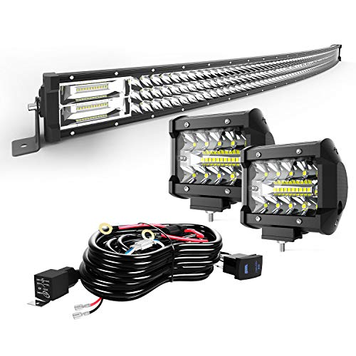 "TURBO SII 42"" Curved LED Light Bar Triple Row 576W Flood Spot Combo Beam Led Bar W/ 2Pcs 4in 60W Off Road Driving Fog Lights with Wiring Harness-3 Leads for Jeep Trucks Polaris ATV Boats Lighting"