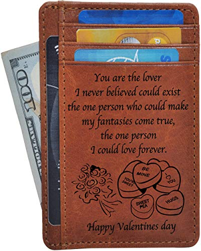 Valentines day gift for Him and Her- Engraved Personalized Gifts for Boyfriend Wife Front Pocket Leather Wallet RFID