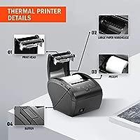 MUNBYN Impresora de Ticket Térmica USB, Ticketera de 80mm de Recibos, Impresora Etiqueta Velocidad 300mm/s ESC/POS Compatible con ...