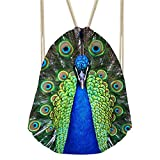 Showudesigns Peacock Printing Green String Sack Bag Unisex Rucksack for Travel