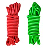 Jili Online 2 Pieces / Set 16.4ft x 0.16'' Elastic Heavy Duty Bungee Rope Shock Cord Marine Boat Kayak Tent Tarp Tie Down Stretch Green + Red