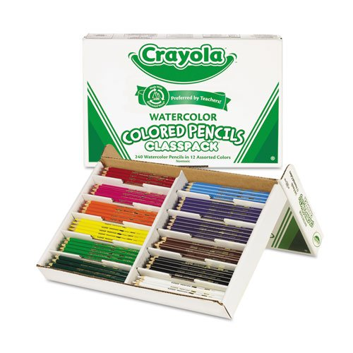 - Crayola Watercolor Wood Pencil Classpack, 3.3 Mm, 12 Asstd Clrs, 240 Pencils/Box