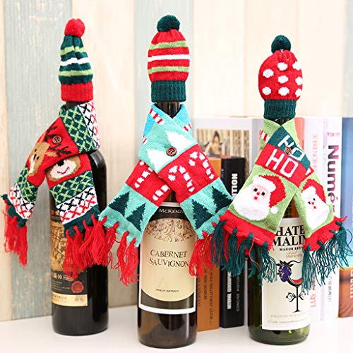 4 Pack Christmas Wine Bottle Decoration,Kicpot Knitted Scarf & Hat Set for Merry Christmas Ornaments Supplies