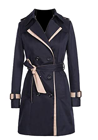 ebd486d264 Amazon.com: BU2H Womens Color Block Double Breasted Slim Long Trench Coats:  Clothing