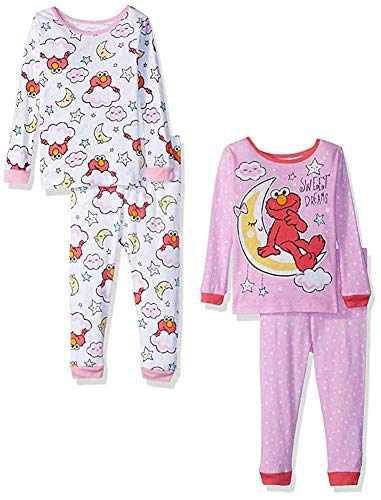 Sesame Street Little Girls' Toddler Elmo 4-Piece Cotton Pajama Set, Pink/White 3T