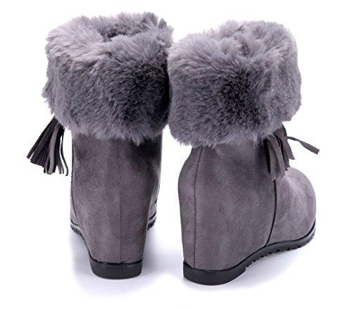 Schuhtempel24 Damen Schuhe Keilstiefeletten Stiefel Stiefeletten Boots Keilabsatz 8 cm Grau