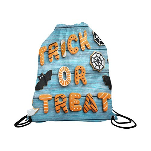 InterestPrint Basketball Drawstring Bags Backpack Funny Halloween Gingerbread Cookies On Blue Wooden Table, Waterproof Polyester Sports Equipment Bag Travel Daypack Gym (Halloween Ideas For Gingers)