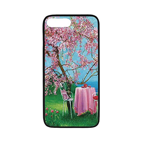 Rustic Rubber Phone Case,Tea Time Theme Vintage Chairs Plum Tree Spring Garden Painting Compatible with iPhone 8 Plus