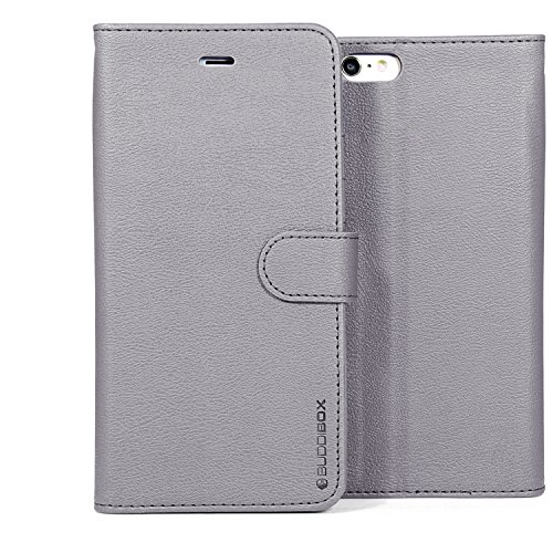 (BUDDIBOX iPhone 6s Case, [Wallet Case] Premium PU Leather Wallet Case with [Kickstand] Card Holder and ID Slot for Apple iPhone 6S / 6, (Grey))