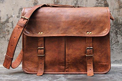 Handmade 17 inch leather laptop messenger briefcase shoulder bag mens womens