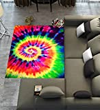 Custom Colorful Tie Dye Area Rugs Carpet,Colorful Tie Dye Modern Carpet Floor Rugs Mat for Home Living Dining Room Playroom Decoration Size 7'x5′ For Sale