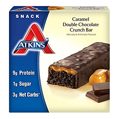 Atkins Advantage Caramel Bars, Double Chocolate Crunch, 5-Count, 1.6-Ounce Bars (Pack of 3)