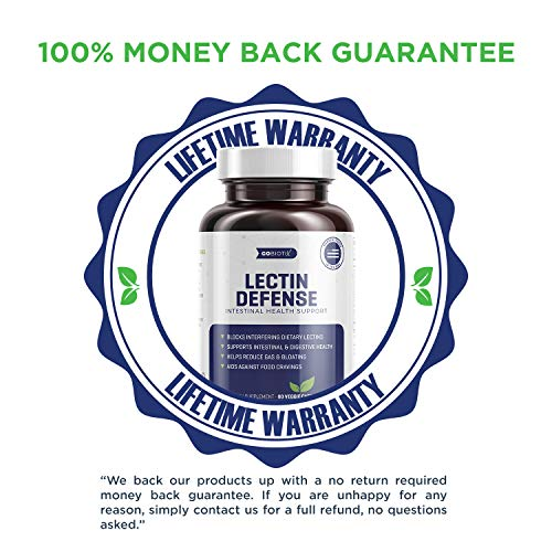 Lectin Defense - Blocks Interfering Dietary Lectins, Supports Intestinal & Digestive Health, Helps Reduce Gas, Aids Against Food Cravings - Non-GMO, Vegetarian, Gluten Free - 60 Vegan Capsules