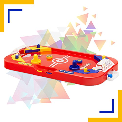 Two Player Desktop Soccer Hockey Game - 2 in 1 Soccer and Knock Hockey Mini Table Top Game - Cool Classic Penny Arcade Games Table Top Shooting Fun Toy For Kids Boys Girls Adults Teens Sports Fans by Perfect Life Ideas
