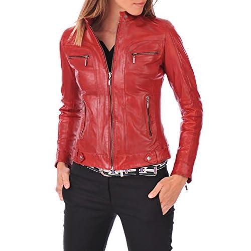 Excentoutwear Womens Lambskin Leather Bomber Biker Jacket