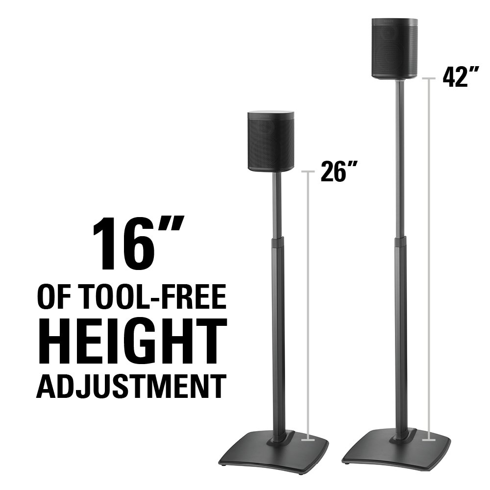 Sanus Adjustable Height Wireless Speaker Stands Designed for SONOS ONE, Play 1, and Play 3 – Tool-Free Height Adjust Up to 16 with Built in Cable Management – Black Pair